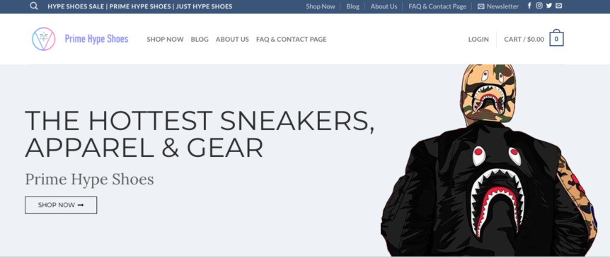 Prime Hype Shoes Website Design